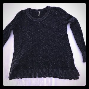 Free People Navy Knit Sweater Pull Over Sweater
